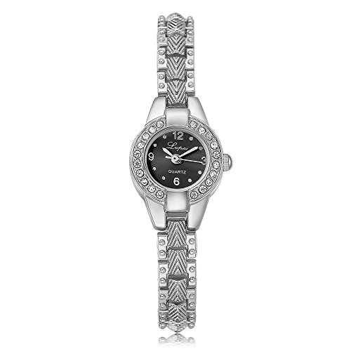 20 Diamonds Womens Watch - Lvpai Ladies Diamond Bracelet Wrist Watches Analog Quartz Arabic Numeral P267 (Silver Black Dial)