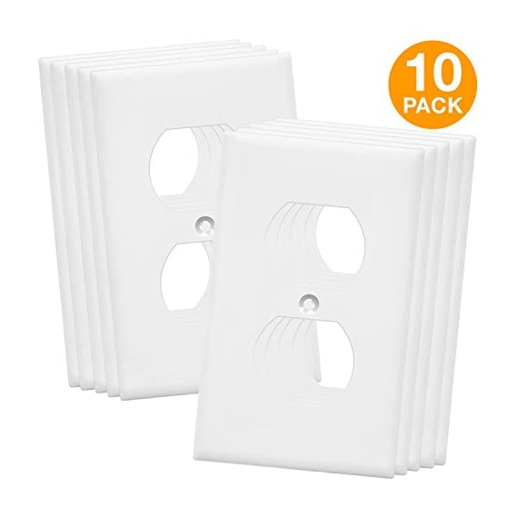 """ENERLITES - FBA_8821-W Enerlites Duplex Wall Plates Kit , model 8821-W Home Electrical Outlet Cover, 1-Gang Standard… 1 Made of polycarbonate thermoplastic material to provide durability, flexibility, and resilience to withstand hard impacts and heavy force Heat & fade resistant to temperatures over 100 degrees which protects them against discoloration and fading over time. Flammability UL94, V2 rating Easy replacement of any wall plate of the same configuration. Dimensions: 4. 50"""" height x 2. 76"""" length"""