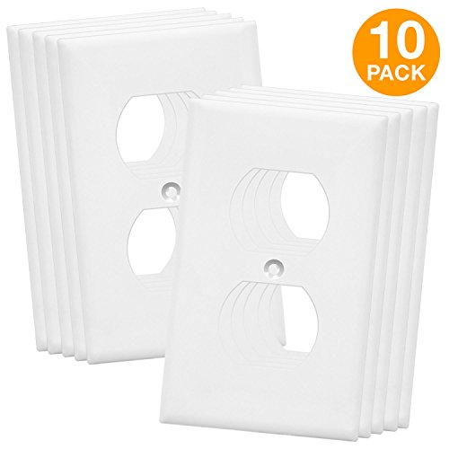 Duplex Wall Plates Kit by Enerlites 8821-W Home Electrical Outlet Cover, 1-Gang Standard Size, Unbreakable Polycarbonate Material, White - 10 Pack Dual Port Replacement Receptacle Faceplates Covers (Wall Plates Electric)