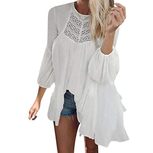 Price comparison product image Todaies Women's Autumn Long Sleeve Round Neck Solid Color Fold Mesh Casual Mini Dress (L,  White)