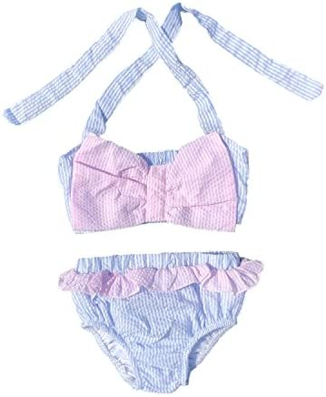 MONOBLANKS Baby Girls Seersucker One Piece Swimsuit Toddler Bathing Suit