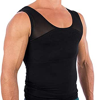Esteem Apparel Men's Original Chest Compression Shirt to Hide Gynecomastia Moobs Black