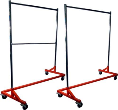 Single Bar Hang Rail plus Double Bar Hang Rail Heavy Duty Rolling Z Rack Garment Rack / Clothing Rack Combo