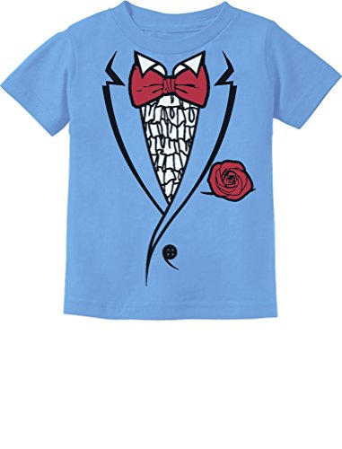 Tstars Printed Ruffled Tuxedo Suit With Red Bow Tie Boys Toddler/Infant Kids T-Shirt 4T California Blue (Ruffled Tuxedo Top)