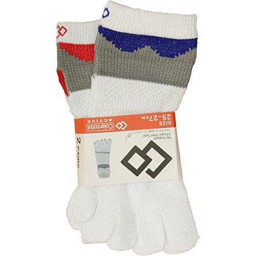 コラントッテ Colantotte 靴下 パイルサポート 5本指ソックス 2足セット ホワイト×レッド/ブルー フリー