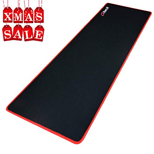 GLTECK Large Gaming Mouse Pad XXL/Extended Mat Desk Pad 36x12 Mousepad Long Non-Slip Rubber Mice Pads Stitched Edges with Portable Bag