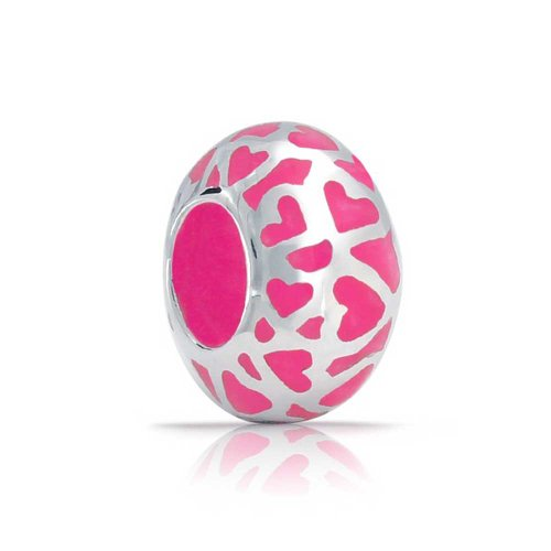 Cut Out Heart Charm (Bling Jewelry Pink Cut Out Open Heart Charm 925 Sterling Silver Enamel Bead for European Bracelet)