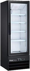 PEAK COLD Small Glass Door Merchandiser Refrigerator, Beverage Display Cooler; 9 Cubic Ft.