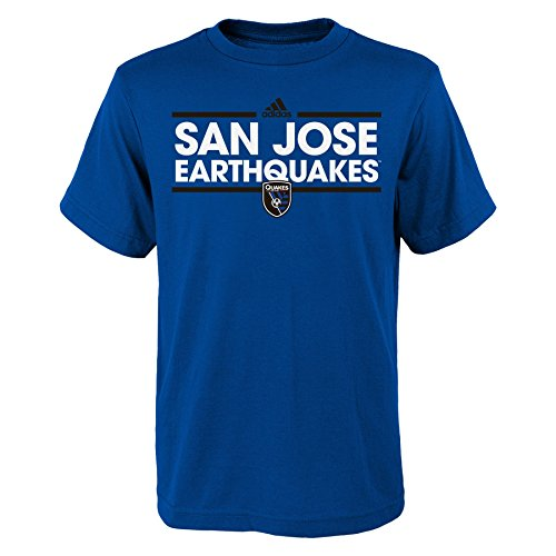 (Outerstuff MLS San Jose Earthquakes Youth Boys Dassler Short Sleeve Tee, Small (8), Master Blue)