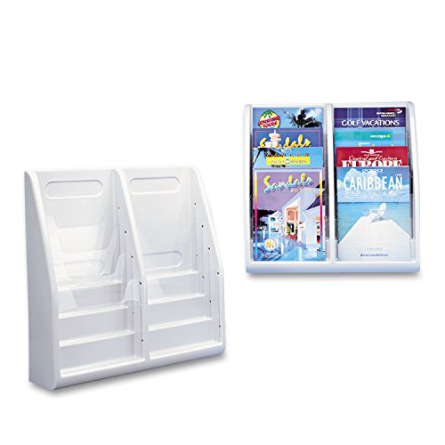 deflect-oamp;reg; Eight-Pocket Plastic Desktop or Wall-Mount Literature Display Rack, Clear/Gray (Desktop Pocket Eight Plastic)