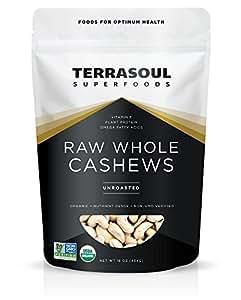 Terrasoul Superfoods Organic Raw Whole Cashews, 16 Ounce
