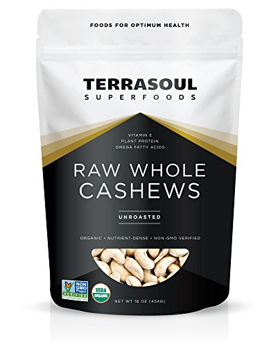Terrasoul Superfoods Organic Raw Whole Cashews, 16 Ounce