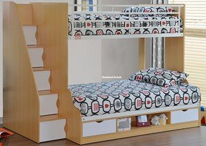 Sleepland Beds 3ft 4ft Small Double Trio Bunk Bed Beech White
