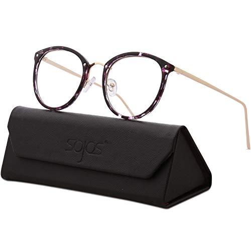 SojoS Round Women Eyeglasses Fashion Eyewear Optical Frame Clear Glasses SJ5969 with Purple Tortoise Frame/Gold Temple