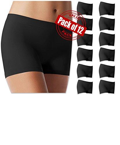 Sexy Basics Women's 12 Pack Soft Spandex Skimming Bike Yoga