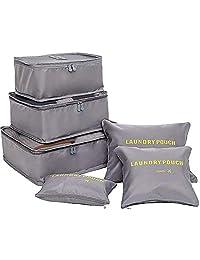 Bolsas organizadoras de equipaje de compresión Cubos de viaje embalaje 6 unidades ( 3 bolsa de malla, 3 lavandería bolsa), Bolsa de lavandería para paquetes de clasificación de ropa Ideal para organizar maletas de mano (Gris)