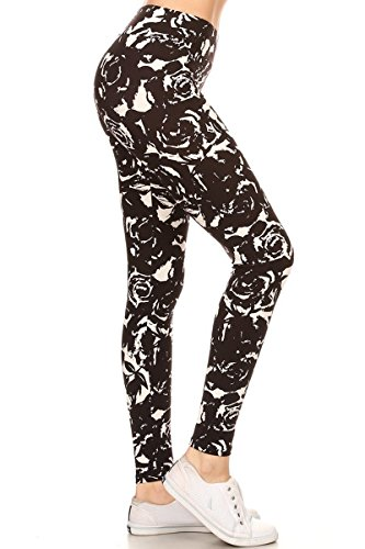 LYX-R610 Black Rose Printed Yoga Leggings, Plus Size