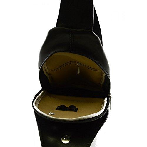 Zaino Monospalla In Vera Pelle Con Tasca Frontale Colore Nero - Pelletteria Toscana Made In Italy - Zaino