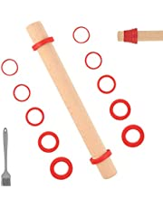 """Sapid 16"""" Wooden Rolling Pin with Removable Thickness Rings, Adjustable Dough Roller, Nonstick Beech Wood Rolling Pins for Pie Crust, Cookie, Pizza, Bread, Pasta (Pastry Brush, Red)"""