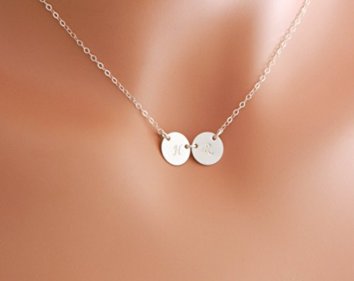 Personalized TWO Initial Charm Necklace, Couple Monogram Disc in Silver, Custom Mother Daughter Jewelry, Tiny Disc Jewelry, GOLD, Mom and Child, Couple Jewelry, Sister, Best friends Necklace (2 Monogram)