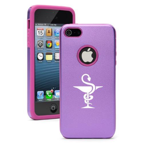 Apple iPhone 5 5S Purple 5D4722 Aluminum & Silicone Case Cover Pharmacist Pharmacy