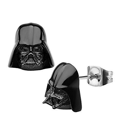 Disney Star Wars Stainless Steel Black IP 3D Darth Vader Stud - Earrings Star Disney