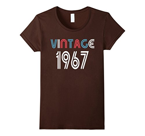 Womens Vintage 1967 Shirt Funny 50 Years Old 50th Birthday Gift Large Brown
