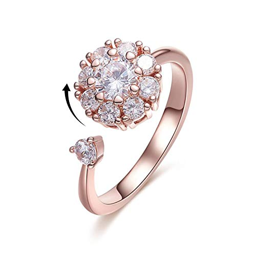Womens Rose Gold Ring Simulated Diamond Ring for Lady Solitaire Band Rings Wrap Open Ring (Rose Gold Ring)