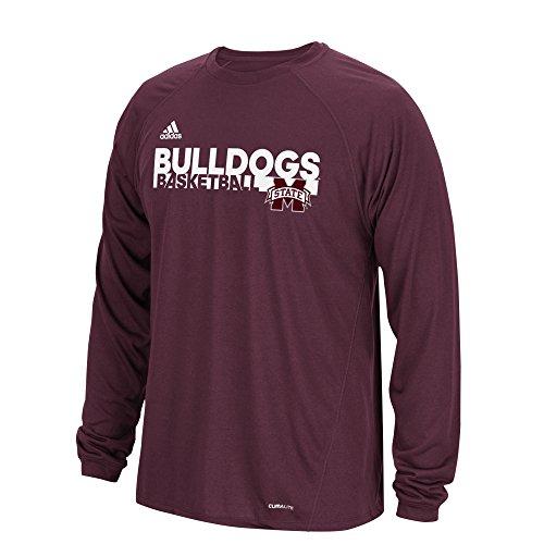 adidas NCAA Mississippi State Bulldogs Mens Sideline Grind Climalite L/S Teesideline Grind Climalite L/S Tee, Maroon, XX-Large