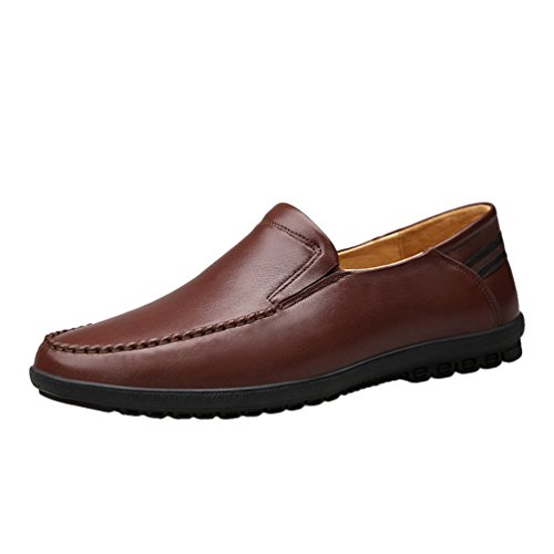 Cuero YiJee Zapatos Calentar Marrón Hombre Ocio Forrado Mocasines Cómodo PU Zapatos p8qgxpaw