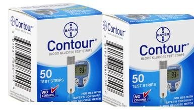Bayer Contour 100 Test Strips 2 Boxes of 50's Exp Year or Mo