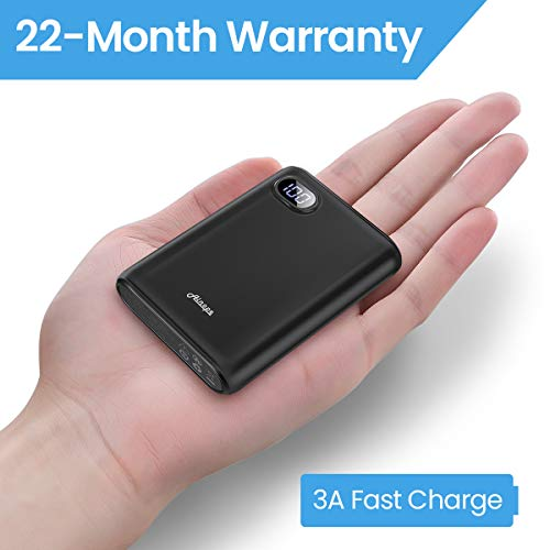 Ainope 10000mAh Portable Charger,(Smallest) (LCD Display) (Powerful) External Battery Pack/Battery Charger/Phone Backup Power Bank Dual USB Output(3.1A),Perfect Carry Travel-Black