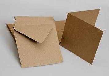 100 X Briefumschläge Mit Blanko Karten, Quadratisch 9 X 9 Cm, Recyceltes  Packpapier,