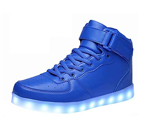 LED Light Up Shoes USB Flashing Sneakers For Toddler/Kids Boots-34(Shining Blue