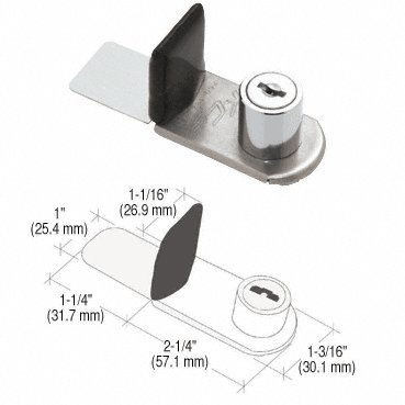CRL Chrome SlideGuard Keyed Dual Door Lock for Glass, Metal, and Plexi SLGDP14