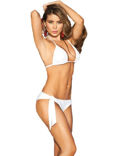 Triangle Top w/Side Tie Bottom Swimsuit White, M
