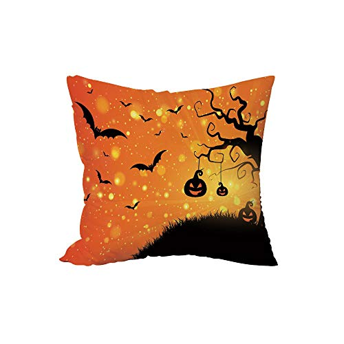 iPrint Polyester Throw Pillow Cushion,Halloween,Magical Fantastic Evil Night Icons Swirled Branches Haunted Forest Hill Decorative,Orange Yellow Black,17.7x17.7Inches,for Sofa Bedroom Car Decorate -