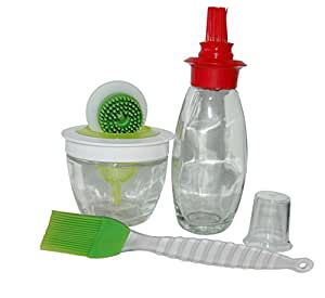 Sage Select Marinating & Basting Set - Marinade Jar with Silicone Applicator and Seed Screen; Oil Dispenser with Red Silicone Top; Green Silicone Brush for Kitchen & BBQ