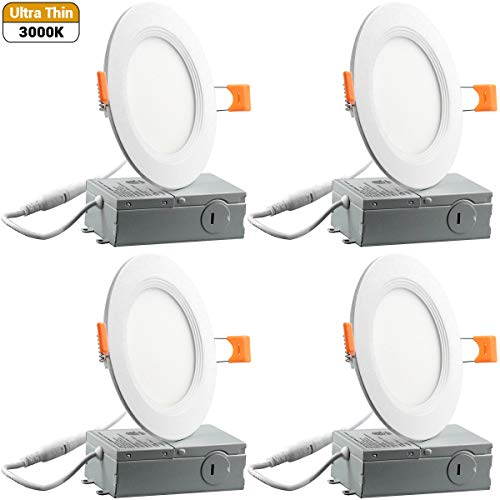 (9W 4inch Ultra-Thin Downlight 650LM 3000K Warm White Dimmable Recessed Ceiling Light Remote Driver cETLus Listed - 4 Pack)