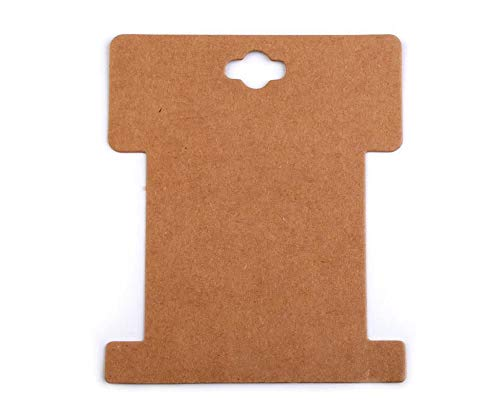(100pc Natural Brown Paper Card Packaging Bobbin Spool 8.6x10.2 cm, PVC Bags, Tube Containers, Spools, Cards, Haberdashery Store Equipment an)