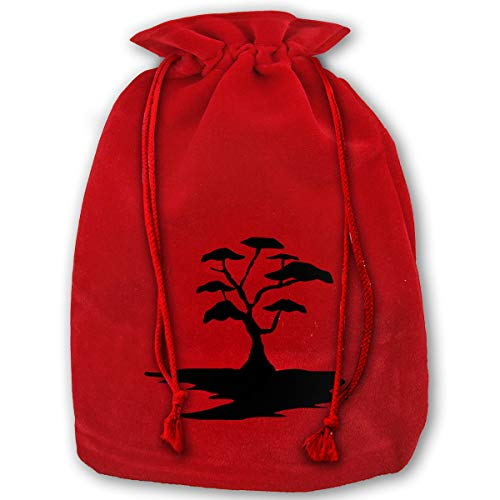 LOUXIO Art Free Clipart Black Tree Christmas Drawstring Gift Bags Santa Storage Sack Backpack for Party Favors Candy Delicate Printing ()