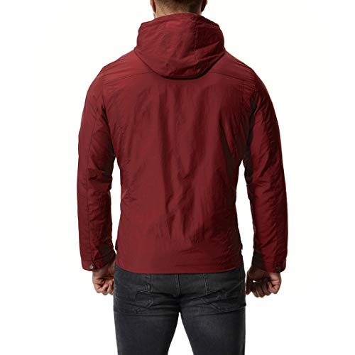 Howme Zip Plus Jacket Pockets Size Autumn Colored Solid Hooded Red Full Men Oq8vrTWO
