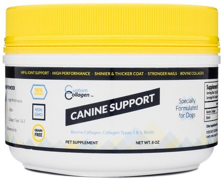 Joint Supplement for Dogs - Canine Support - Collagen plus Biotin - Hair, Coat, Skin, Nail, Joint, Hip, and Digestion Support - Great for Arthritis & Allergy - Amino Acids