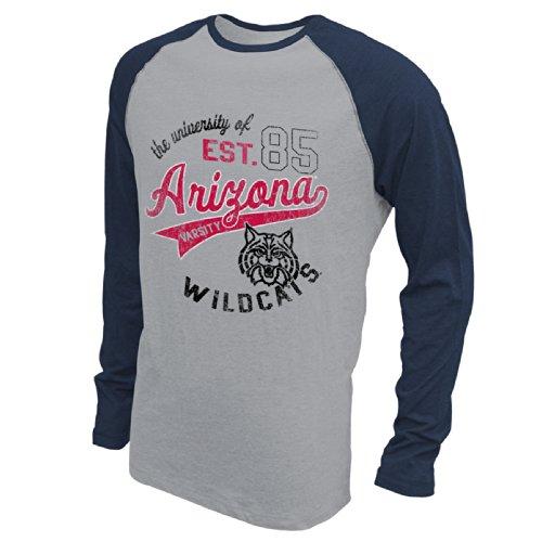 NCAA Arizona Wildcats Men's Baseball Long Sleeve, X-Large, Premium Heather/Navy Heather