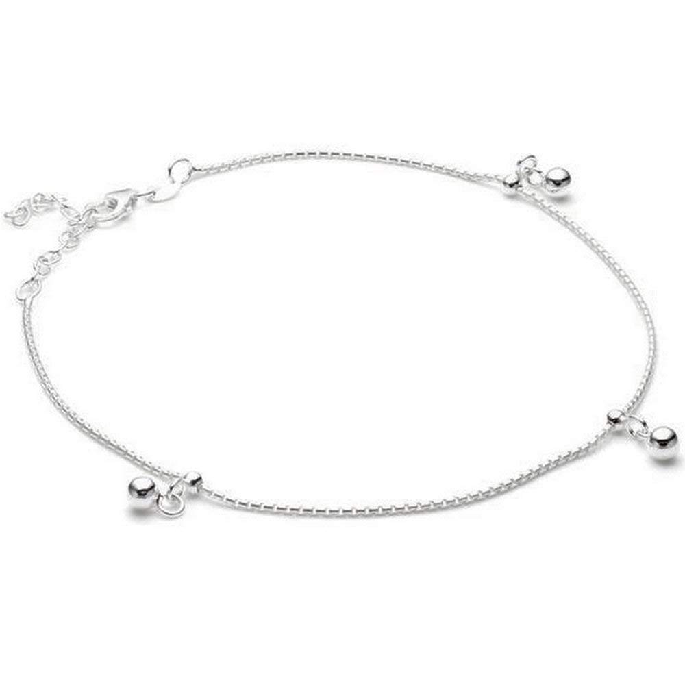 sense925 Sterling Silver Anklet Three Balls 23 cm extendable to 27 cm