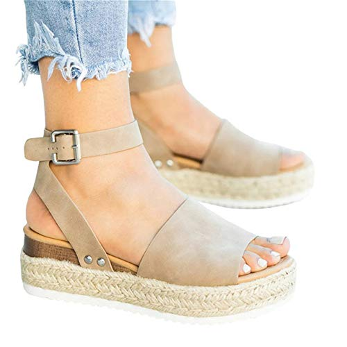 Mafulus Womens Espadrilles Platform Sandals Wedge Ankle Strap Studded Open Toe Summer Sandals Taupe ()