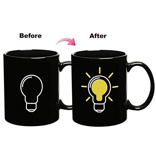 EXCEL-LEADER 12 Ounce Magic Coffee Heat Sensitive Mug,Ceramic Lightbulb Design Color Changing Heat Coffee Cup