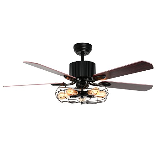 (LuxureFan Industrial Retro Ceiling Fan Light Elegant for Restaurant/Living Room with Create Iron Cage Cover and 5 Reversible Wood Leaves Remote Control of 52Inch)
