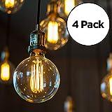 4-Pack Edison Light Bulb, Antique Vintage Style Light, Amber Warm (60w/120v)