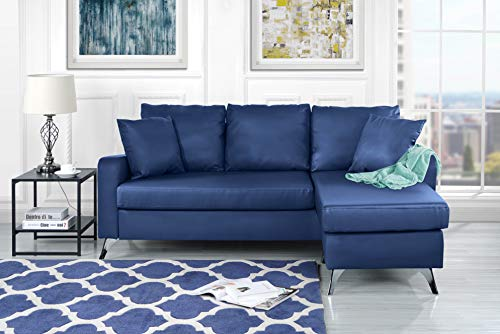 Divano Roma Furniture Bonded Leather Sectional Sofa - Small Space Configurable Couch (Blue) -